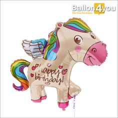 """Ballongruß glitzerndes Pony  Welches Mädchen mag nicht gern Pferde? Dieses eigentlich weiße Pony besitzt eine regenbogenfarbene Mähne und dazu die Aufschrift """"Happy Birthday"""". Ein toller Ballongruß für kleine Mädchen und Frauen die weiterhin ihrer Leidenschaft mit den großen Vierbeinern nachgehen. Diese ungewöhnliche Form wird als Geschenkidee in jedem Fall alle Blicke auf sich ziehen."""