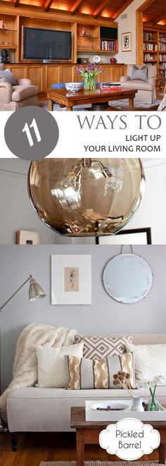 11 Ways to Light Up Your Living Room - Interior Design Fans Craft Room Lighting, Living Room Lighting, Lighting Ideas, Affordable Home Decor, Easy Home Decor, Cheap Home Decor, Low Cost, Room Lights, Interior Design Tips