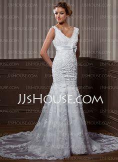 Wedding Dresses - $239.99 - A-Line/Princess V-neck Chapel Train Organza  Satin Wedding Dresses With Lace  Sashes  Beadwork (002004537)