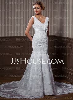 Wedding Dresses - $239.99 - A-Line/Princess V-neck Chapel Train Organza  Satin Wedding Dresses With Lace  Sashes  Beadwork (002004537) http://jjshouse.com/A-line-Princess-V-neck-Chapel-Train-Organza--Satin-Wedding-Dresses-With-Lace--Sashes--Beadwork-002004537-g4537