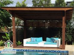 - - Pergola Videos De Madera Decoracion - Pergola Patio With Screen - Pool Gazebo, Pool Fence, Backyard Fences, Pergola Patio, Small Pergola, Iron Pergola, Corner Pergola, Pergola Canopy, Pergola Cover