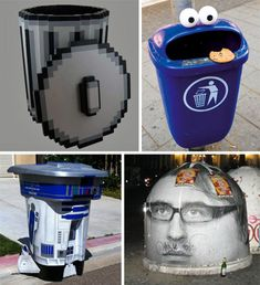 Trash Can Art - inventive and original. I would love to see some of these creative ideas in our neighborhood.