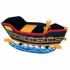 Guidecraft Retro Rocker Pirate Ship- For Peter Pan inspired play room. Pirate Boats, Pirate Life, Ride On Toys, Pirate Theme, Pirate Birthday, Pirate Party, 4th Birthday, Toddler Toys, Toys For Boys