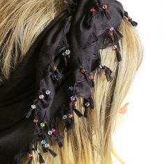 Black Scarf beaded Scarf Cotton Scarf  Cowl by selenayselenay, $29.00 #scarves #scarf   #womenscarves