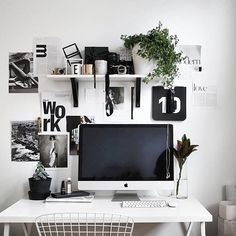 B&W workspace with typography art | #workspacegoals