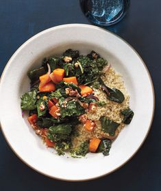 Get the recipe for Quinoa With Sweet Potatoes, Kale, and Pesto.