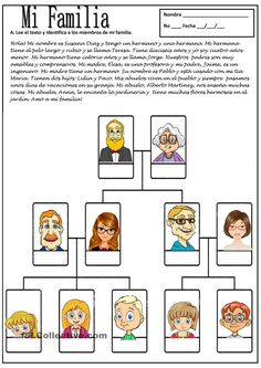 Free printable - MI FAMILIA - Short reading about Spanish family members. Kids use info to label the family in Spanish. Spanish Worksheets, Spanish Teaching Resources, Spanish Vocabulary, Spanish Activities, Vocabulary Worksheets, Middle School Spanish, Elementary Spanish, Spanish Songs, How To Speak Spanish
