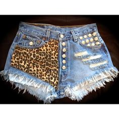 LEOPARD High waisted denim shorts super frayed with print and studs size S/M/L/XL ($65) found on Polyvore