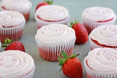 These strawberry cupcakes start from a box and are doctored up with a few ingredients to give them a fresh flavor. Sure to impress and quick to make!