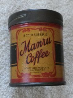VINTAGE-SCHREIBERS-MANRU-COFFEE-FREE-FIVE-CUP-SAMPLE-TIN-CAN-2-1-2-TALL