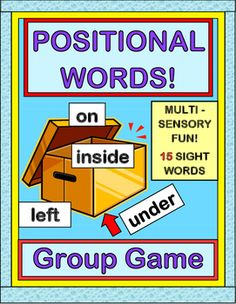 Active fun with POSITIONAL WORDS! Play this GROUP GAME, make a SHAKER CRAFT, and learn 15 SIGHT WORDS! Sing a familiar-tune SONG as each kid helps to decipher a Positional Word and places a classroom object somewhere in/around/on a clear plastic box. Add the 15 Positional Word Cards to your WORD WALL. Great for your Sub Folder, too! (11 pages) From Joyful Noises Express TpT! $