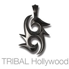 TWIN EAGLES Tribal Symbol Black Gunmetal Mens Necklace Pendant by BICO Australia