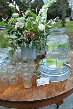 Gorgeous Glass :: Vintage Inspiration Loving the new mason jar inspired water dispenser/galvanized stand combo. Photo by Ace Photography Glass Water Dispenser, Drink Dispenser, Mason Jar Drinks, Bar Drinks, Beverages, Wedding Table, Rustic Wedding, Tree Wedding, Wedding Vintage