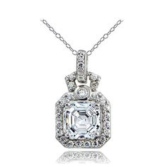 Icz Stonez Sterling Silver Asscher-cut Cubic Zirconia Square Necklace Women's