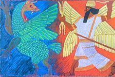 Waldorf ~ Class ~ Ancient Mesopotamia ~ Marduk and Tiamat ~ blackboard drawing Source by susanan Blackboard Drawing, Chalkboard Drawings, Chalk Drawings, Chalkboard Art, Ancient Persia, Ancient Egypt, Ancient History, Ancient Greece, Ancient Mesopotamia