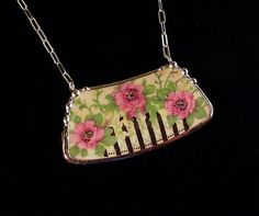 Wild roses. Broken china jewelry necklace. Made from a broken china plate by Dishfunctional Designs