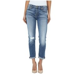 7 For All Mankind Josefina w/ Destroy in Ibiza Island Indigo 2 Women's... ($225) ❤ liked on Polyvore featuring jeans, boyfriend fit jeans, tapered jeans, ripped skinny jeans, distressed boyfriend jeans and destructed boyfriend jeans