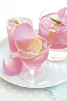 mint pink lemonade with lime and rose petal garnish.  am hoping this tastes like the one I had in Dubai!!