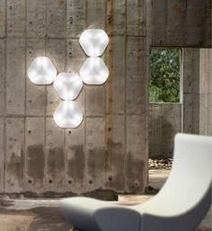 Modern Hexagonal White Wall Lamp Design by Karim Rashid . Meme Design, Futuristisches Design, Tv Wall Design, House Design, Interior Design, Karim Rashid, Modern Lighting Design, Unique Lighting, Overhead Lighting