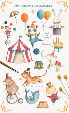 Circus Clipart Watercolor Clipart Circus Invitation Bear Elephant Cat Panda Clip Art Nursery Decor Baby Shower Printable - My list of the most beautiful baby products Watercolor Clipart, Watercolor Animals, Watercolor Illustration, Watercolor Art, Elephant Illustration, Animal Illustrations, Fantasy Illustration, Digital Illustration, Illustrations Posters