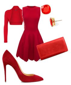 """""""Red"""" by kamila-peczek on Polyvore featuring WearAll, Alexander McQueen, Vera Bradley, Christian Louboutin and Kate Spade"""