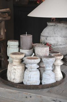 Wooden candles made of old ornaments. Think I can use some table legs to do this!
