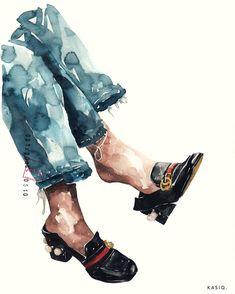 Fashion Illustration Ideas kasiq Fashion Illustration Series 9 on Behance - Fashion Sketchbook, Fashion Sketches, Watercolor Illustration, Watercolor Paintings, Watercolour, Watercolor Fashion, Images Gif, Traditional Art, Illustrations Posters