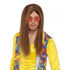 Hippie Perücke braun Hipster 70er Jahre Perücke