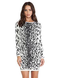 White Long Sleeve Leopard Bodycon Dress