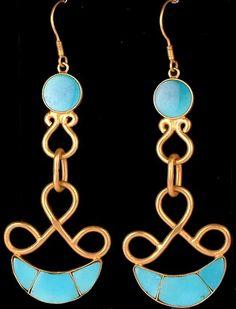 Tibetan turquoise & gold earrings.