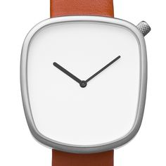 Pebble (white/brown) watch by Bulbul. Available at Dezeen Watch Store: www.dezeenwatchstore.com
