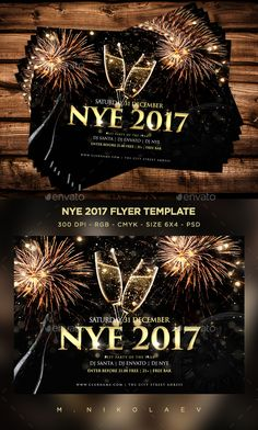 #New #Year 2017 #Flyer - Clubs & Parties Events Download here: https://graphicriver.net/item/new-year-2017-flyer/18983148?ref=alena994