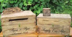 Rustic Wedding Box Set Card Box Wine Box Ring Box Keepsake Chest Personalized Custom Bride & Groom names and Date by dlightfuldesigns
