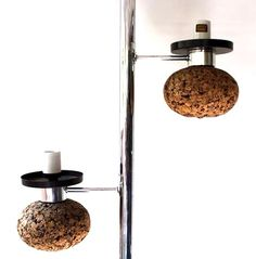 Mid-century tension pole lamp with cork.