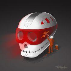 KRANE - Vanity, bones and skull ☠ illustrations and painting Crane, Skull Illustration, Bicycle Helmet, Bones, Hats, Skull, Hat, Cycling Helmet, Hipster Hat