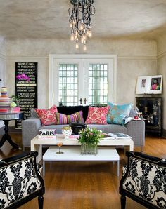 Brandon Barre Photography - Eclectic living room with venetian plaster walls 7 ceiling, ...