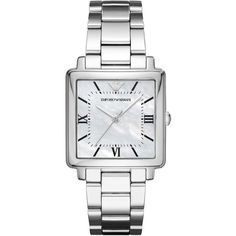 Emporio Armani Women's Modern Square Stainless Steel Bracelet Watch... (955 RON) ❤ liked on Polyvore featuring jewelry, watches, silver, stainless steel jewelry, bracelet watch, square watches, square wrist watch and emporio armani watches