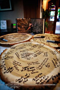 """Guest """"Log"""" for a rustic wedding; someone turned one into a table afterwards! Woodsy Wedding, Fall Wedding, Diy Wedding, Dream Wedding, Wedding Ideas, Viking Wedding, Lakeside Wedding, Forest Wedding, Wedding Wishes"""