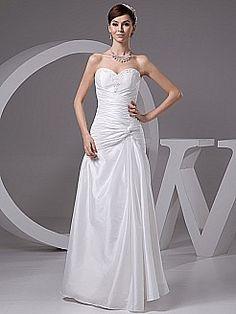 Side Draped Strapless Taffeta Bridal Dress with Beading Decor - USD $147.00