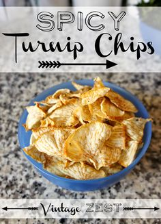 I am officially addicted to my dehydrator! After last week's Homemade Kale Chips, I thought you might like this equally easy, delicious, and healthy snack: Spicy Turnip Chips! Seriously, I am in love with this snack and it is even quicker and easier to pr Vegetable Chips, Vegetable Recipes, Vegetarian Recipes, Veggie Dishes, Vegetable Ideas, Side Dishes, Diet Snacks, Healthy Snacks, Healthy Eating