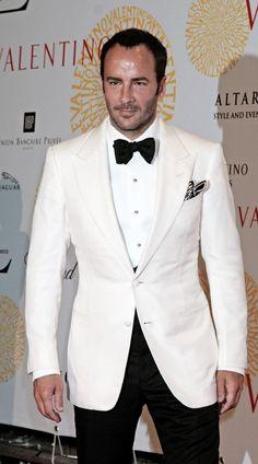 White tuxedo jacket. Peak lapel.