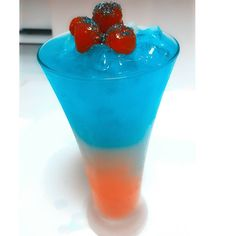 ~The 3 Layered Snowcone~ Blue Layer- Berry Snow Cone Syrup Blueberry Schnaaps Green Apple Snow Cone Syrup White Layer- Pina Colada mix, Rum Orange Layer- Passion fruit Juice, Mango Rum  #rum #vodka #tequila #mojito #tipsybartender #mixology #layeredBooze