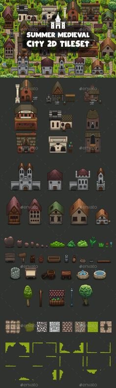 Buy Summer Medieval City Game Tileset by craftpix_net on GraphicRiver. Before you Summer Medieval City Game Tileset. This is a set consisting of various houses, objects, trees and plants, . Game Maker Studio, 2d Rpg, Floor Runners, Video Game Development, Limestone Tile, Artificial Stone, Game Background, Game Icon, Paving Stones