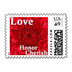 "LOVE!!! Red, Dahlia, ""Love, Honor, Cherish"" Floral Postage Stamps. Perfect for wedding, shower, engagement party, vow renewal, or anniversary invitations, announcements, save the dates, RSVPs, thank you cards, and every day correspondence. #red #wedding #postage #stamps #dahlia #chrysanthemum #love #honor #cherish"