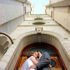Bridals at the Salt Lake City LDS Temple for two returned missionaries.