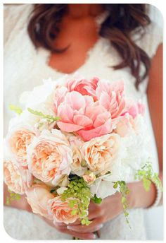 This is a nice pink wedding bouquet, but I think the flowers are too big and bulky...