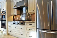 Interior of modern luxury kitchen with stainless steel appliances stock photo - 3930805 Antique Kitchen Cabinets, Refinish Kitchen Cabinets, Kitchen Cabinet Colors, Kitchen Cabinetry, White Cabinets, Layout Design, Design Ideas, News Design, Design Tutorials