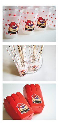 INSUMOS. PARTY SUPPLIES. Vasos, Sorbetes y Pochocleras #Spiderman #cumpleaños #red #party #dot #blue #boy #candybar