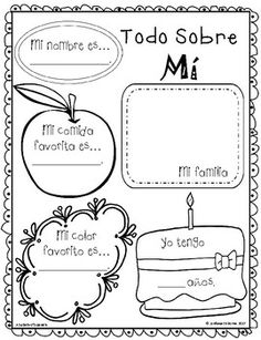 This All About Me activity in Spanish is great for the beginning of the school year.  Need a back to school activity grab this ready to use activity in full or half sheet form.