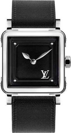 Dévoilée en or jaune ainsi qu en acier serti de diamants, l Emprise de Louis  Vuitton se présente aujourd hui en acier avec un cadran noir ou blanc. 7c335e8f260